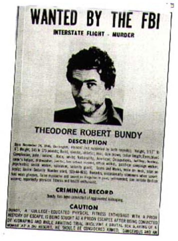 F.B.I wanted poster for Ted Bundy